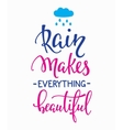 Rain Makes everything Beautiful quotes typography vector image