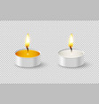 realistic tealight candle icon set isolated on vector image vector image