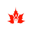 Red maple leaf logo vector image vector image