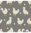rooster and chicken pattern grey vector image