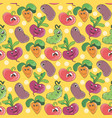 seamless pattern background with cartoon funny vector image vector image