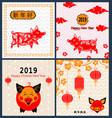 set cards for happy chinese new year 2019 with pig vector image