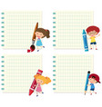 set children on note template vector image