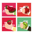 set of hand holding fresh fruits watermelon apple vector image