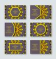 set of ornamental hand drawn mandala cards vector image vector image