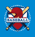 shield baseball emblem with helmet and bats vector image vector image