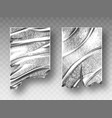 silver foil crumpled texture with ragged edge vector image vector image