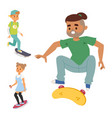 skateboard characters stylish skating kids vector image vector image
