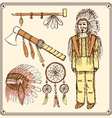 Sketch native american set in vintage style vector image vector image