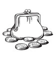 sketch purse with coins cartoon style hand vector image vector image