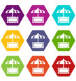 snack stall icons set 9 vector image vector image