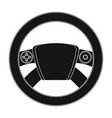 steering wheel single icon in black style for vector image vector image