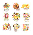 summer holidays set for label design journey vector image vector image