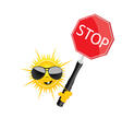 sweet and cute sun with sign stop vector image