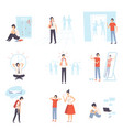 teenager problems set anxiety depression vector image vector image