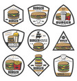 vintage colored burger labels set vector image vector image