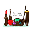 with decorative cosmetics vector image