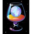 World in glass of cognac vector image vector image