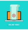 Laptop with video film strip play button vector image