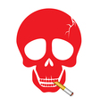 A human skull smoking a cigarette vector image