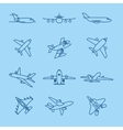 Airplane thin line icons vector image