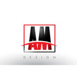 am a m logo letters with red and black colors