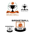 Basketball logo with balls basket trophy vector image vector image