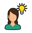 beautiful woman with bulb avatar character vector image