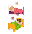 bed time for little children in cozy beds set vector image