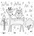 best friends coloring page with funny deer and owl vector image vector image