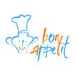 bon appetit lettering template vector image vector image