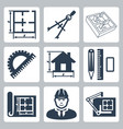 building design icons set layout pair vector image