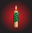 Candle with green spiral tape on red vector image vector image