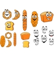 Cartoon breads with happy smiling faces vector image vector image