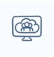 Cloud computing sketch icon vector image vector image