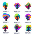 collection woman head silhouettes with trandy vector image