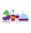 colorful bottle glass grape wine dish icons vector image