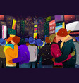 couples kissing during new year celebration vector image vector image