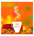 cozy autumn with plaid and cup of tea vector image vector image