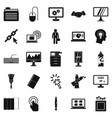 data processor icons set simple style vector image