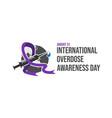 drug overdose awareness day purple ribbon vector image vector image