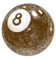engraving billiards 8 ball vector image