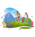 family hiking mountain tourism outdoor activity vector image