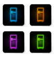 glowing neon refrigerator icon isolated on white vector image vector image