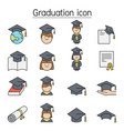 graduation color line icons vector image