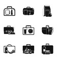 handbag icons set simple style vector image