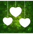hearts frame green vector image