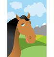 Horse and summer landscape Head animal in nature vector image vector image