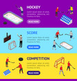 ice hockey arena competition banner horizontal set vector image