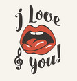 inscription i love you with open mouth and tongue vector image vector image